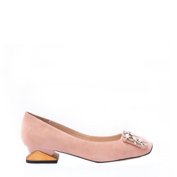 Camila - Block Heel shoes for women in suede in pink color - Julke