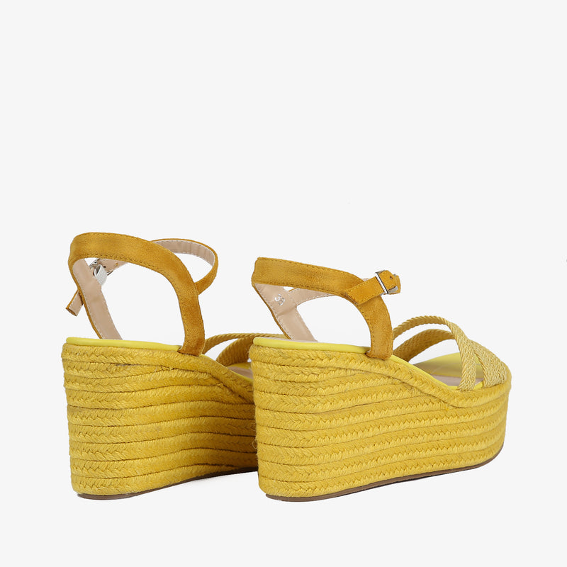 Laurel-Women shoes-Wedges-Wedge heels-Yellow-Back View-JULKÉ