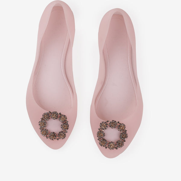 Nell - Flat Jelly shoes for women in pink color - Julke