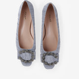 Iris - Flat suede shoes in blue color - Julke