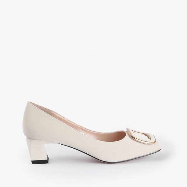 Norma-Women shoes-Block heels-White-Side View-JULKÉ