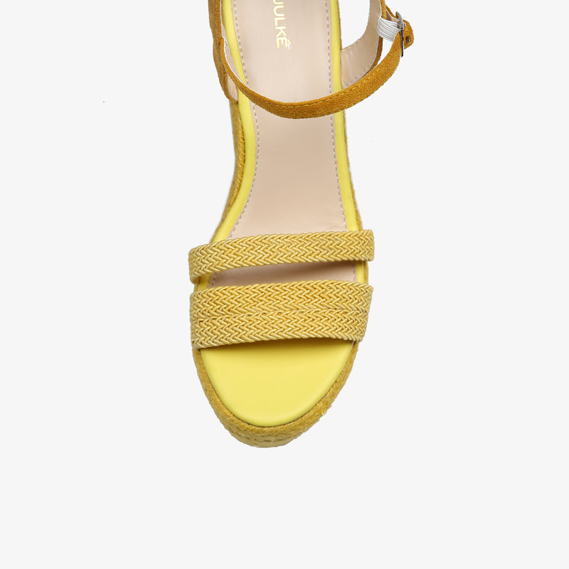 Laurel-Women shoes-Wedges-Wedge heels-Yellow-Top View-JULKÉ