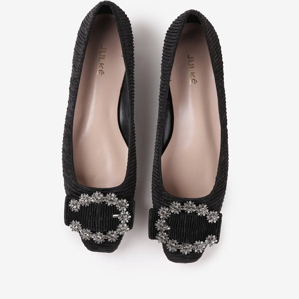 Iris - Flat suede shoes in black color - Julke