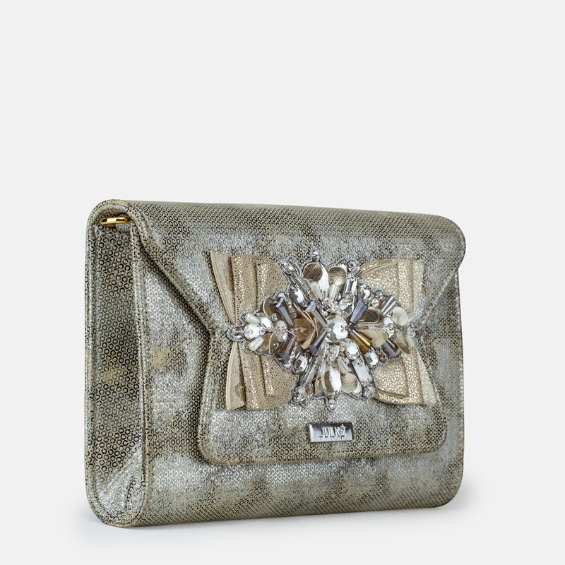 Amelia - Silver Clutch For Ladies - Side View - Julke