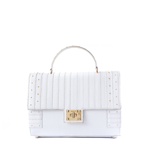 Petra - Women leather handbag in white color - Julke