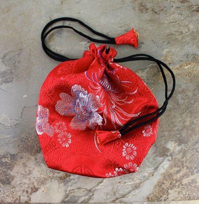 Bags Default Red Silk Drawstring Mala Bag fb084