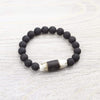 Bracelets Ancient Dzi and Lava Rock Men's Bracelet