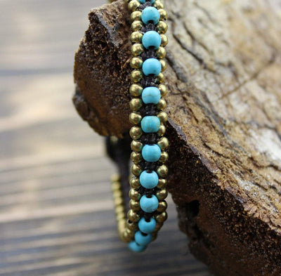 Bracelets Default Brass and Turquoise Bead Wrap Bracelet jb153