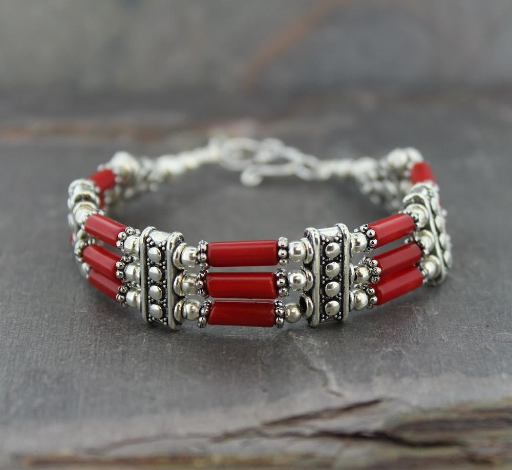 Bracelets Default Coral and Silver Bands Bracelet jb134