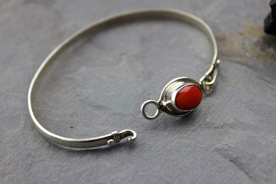 Bracelets Default Coral and Sterling Silver Hook Bracelet jb254