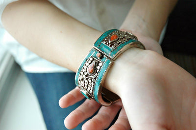 Bracelets Default Traditional Sherpa Coral and Turquoise Bracelet jb111