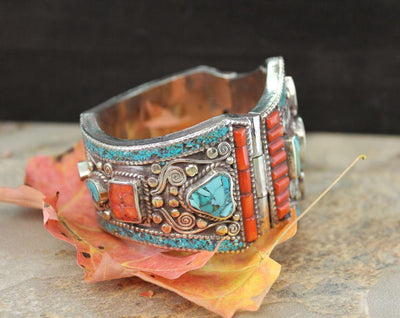 Bracelets Default Turquoise and Coral Bracelet Traditional Tibetan Style jb078