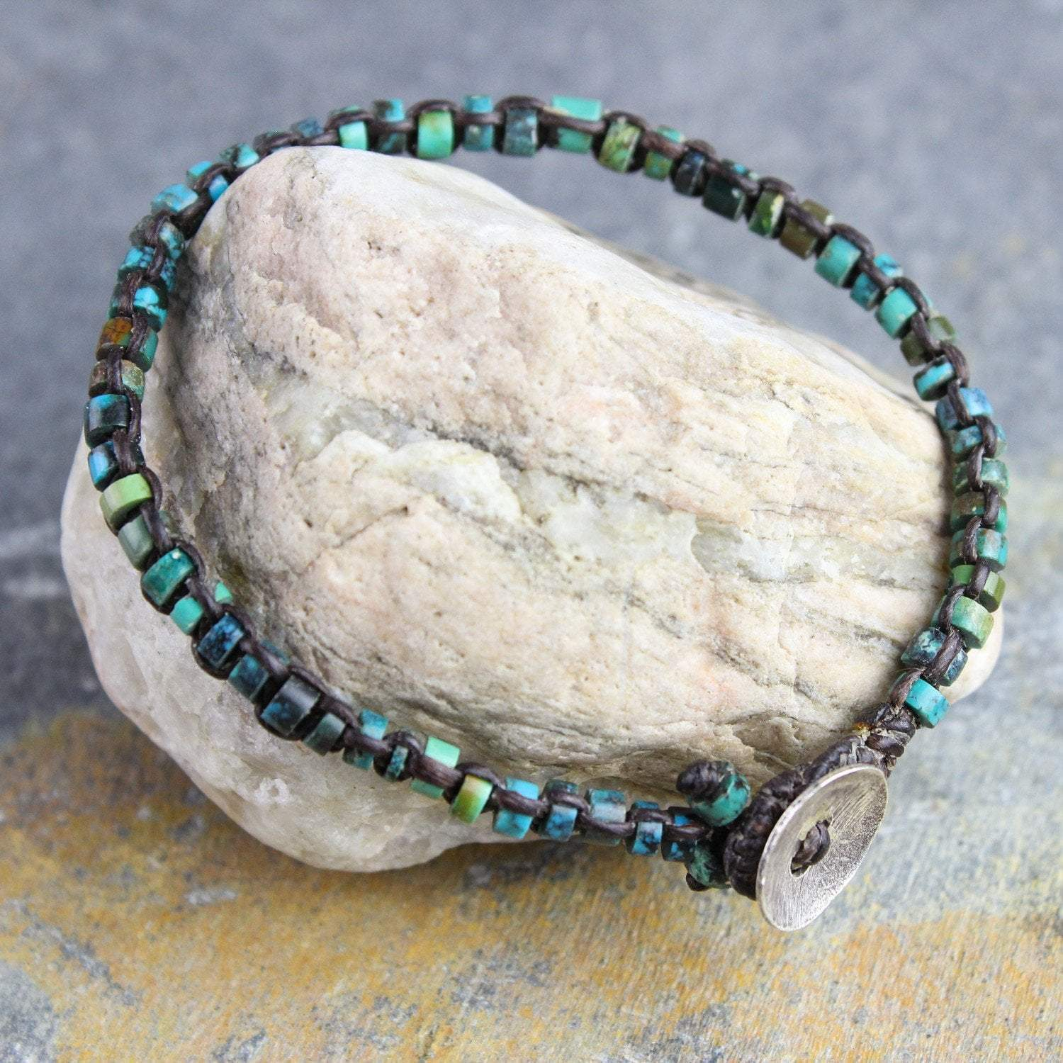 Bracelets Default Turquoise Wrap Bracelet with Loop Closure jb245