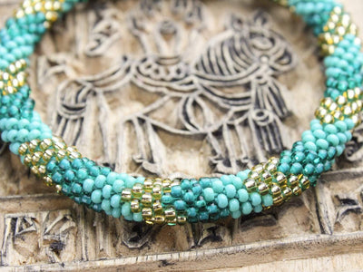 Bracelets Earthquake Relief Beaded Bracelet in Turquoise and Gold JB758