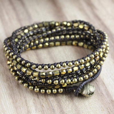 Bracelets Elegant Brass Wrap Bracelet with Bell Closure JB730