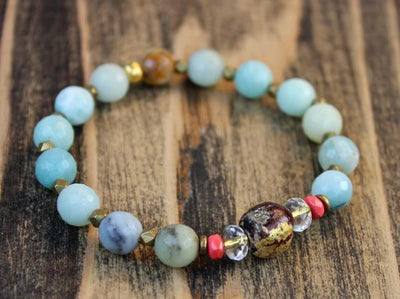 Bracelets Faceted Amazonite Bracelet with Thai Buddha Bead JB722
