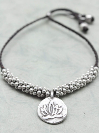 Bracelets Lotus and Om Hill Tribe Silver Bracelet JB810