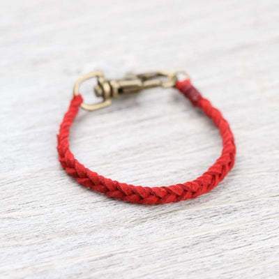 Bracelets Small Braided Suede Bracelet in Red JB899.SM
