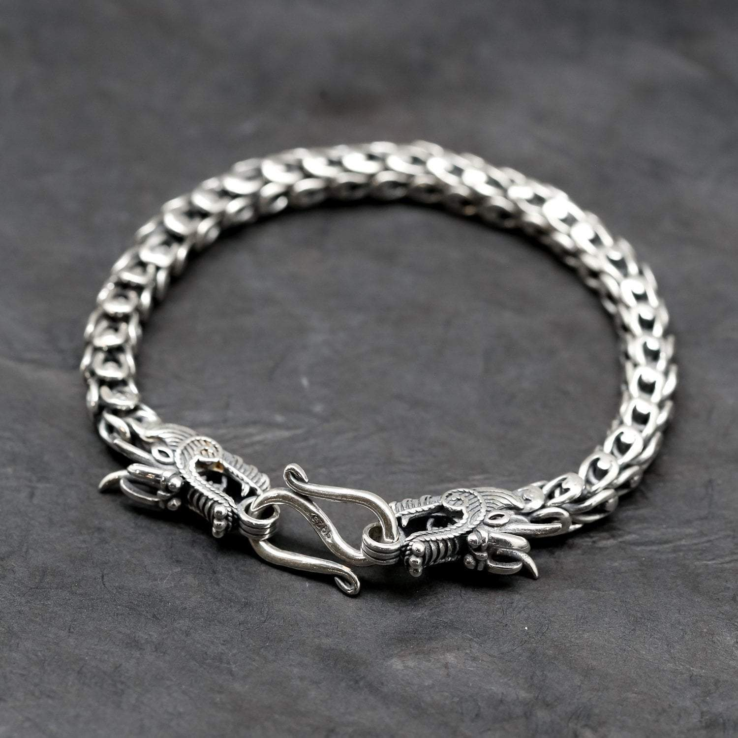 b22d7a87d18d2 Men's Dragon Bracelet - Handmade Sterling Silver Bracelets for Men -  thedharmashop