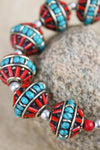 Bracelets Traditional Turquoise and Coral Large Bead Bracelet JB684