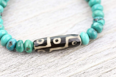 Bracelets True Turquoise and Dzi Bracelet JB900