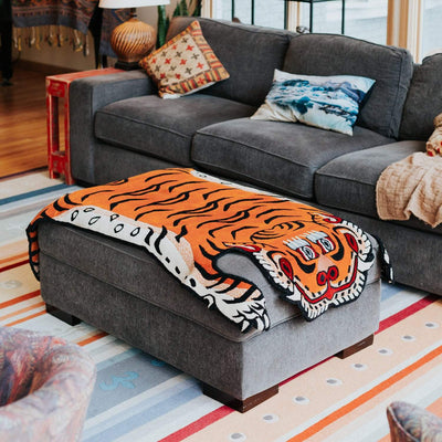 Carpets Large Tibetan Tiger Rug Burnt Orange CR018