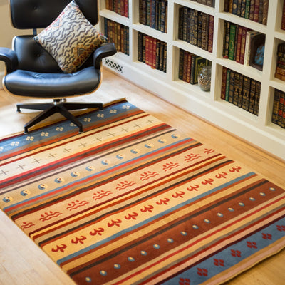 Prajwol /NepaCrafts Carpets Traditional Tibetan Chuba Area Rug