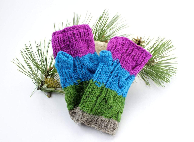 Clothing Default Color Block Fingerless Mitten WO112