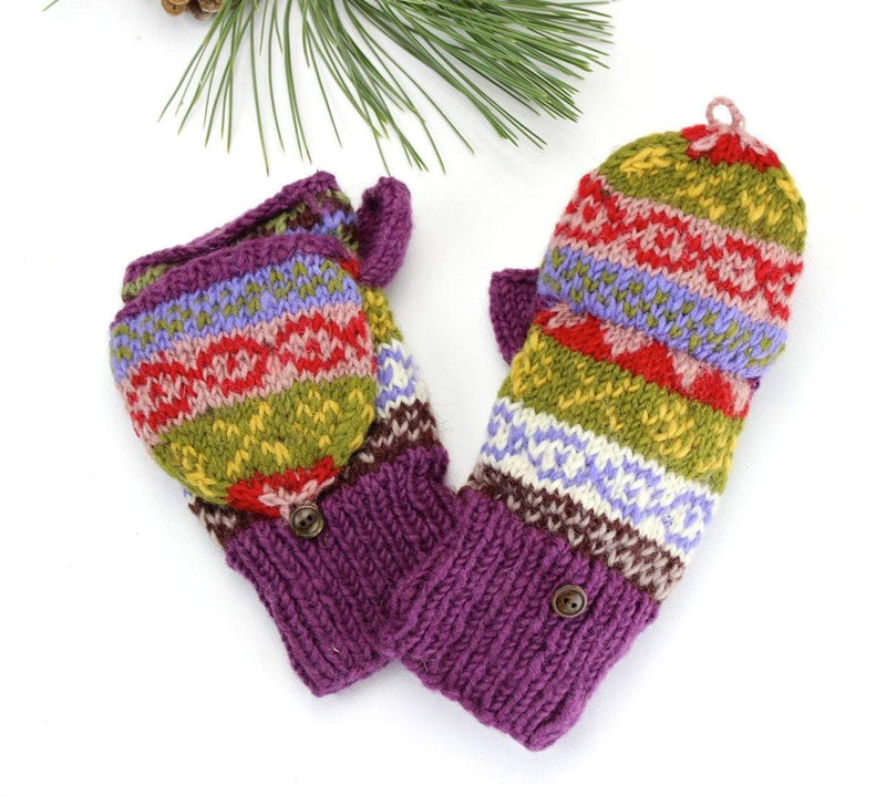 Clothing Default Purple/Multi Convertible Mittens WO105