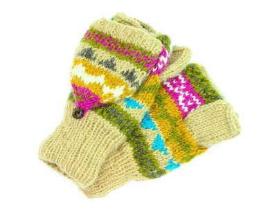 Clothing Default Tan/Multi Wool Convertible Mittens WO101