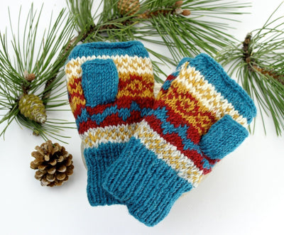 Clothing Default Turquoise/Multi Wool Convertible Mittens wo110