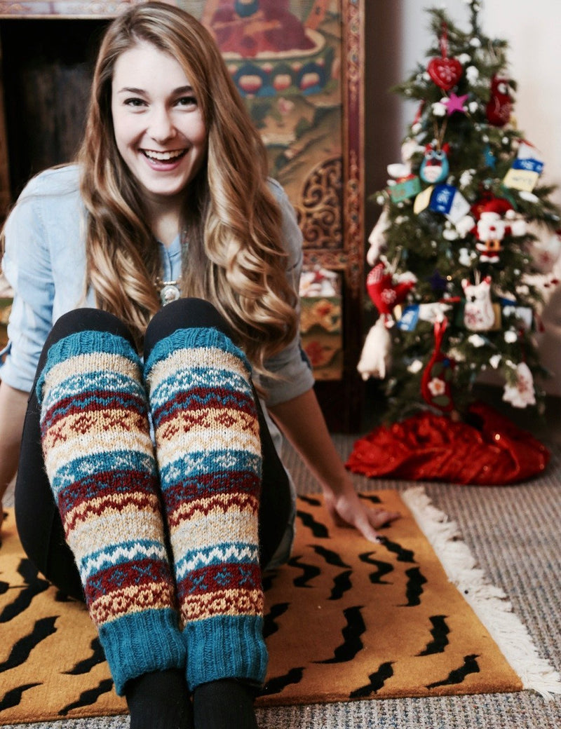 Clothing Default Turquoise/Multi Wool Legwarmers wo109