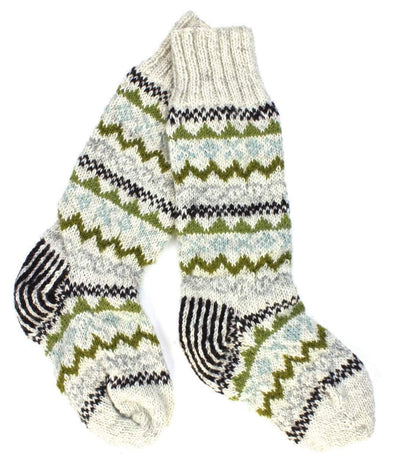 Clothing Default White Multi Color Wool Slipper Socks wo116