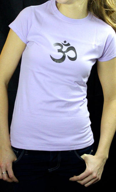 Clothing,Gifts,Om,Under 35 Dollars Small Fitted Womens OM Shirt Lavender ts008small