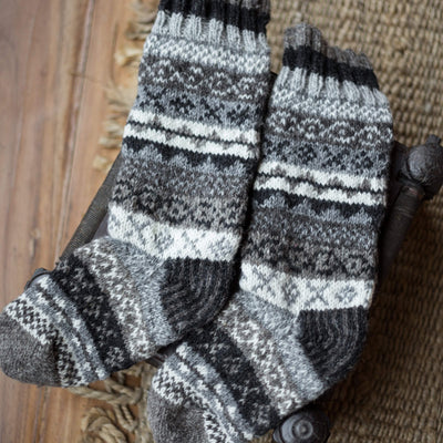 Clothing Handmade Dark Gray Wool Slipper Socks wo031