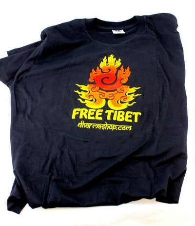 Clothing Medium Hand Embroidered Free Tibet Flame T Shirt ts012med