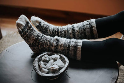 Clothing Natural Gray Color Wool Slipper Socks wo030