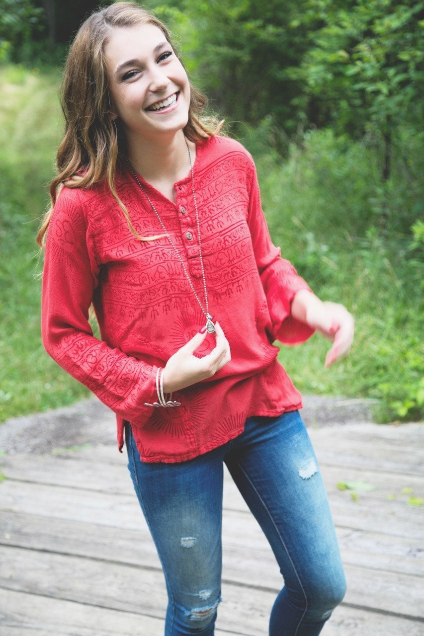 Clothing XS Coral OM Cotton Long-Sleeve Top omshirt005-xs