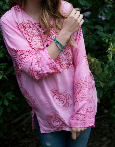 Clothing XS Pink OM Cotton Long-Sleeve Top omshirt003-XS