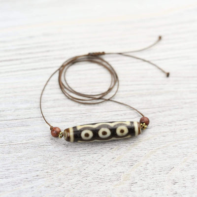 Dzi Beads Five Eyes True Agate Dzi Bead