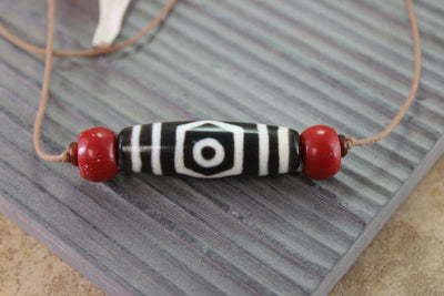 Dzi Beads,necklace Default One of a Kind Agate Dzi with Coral 007d dz007d