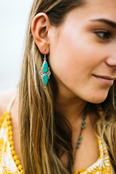 Earrings Bold Sterling Silver and Turquoise Earrings JE514