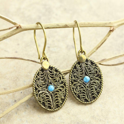 Earrings Brass Filagree Earrings with Blue Howlite JE483