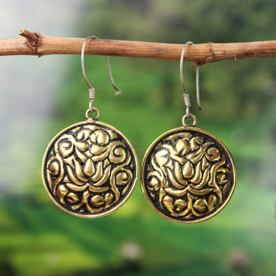 Earrings Brass Lotus Earrings JE499