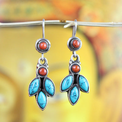 Earrings Dangling Turquoise and Coral Earrings JE489