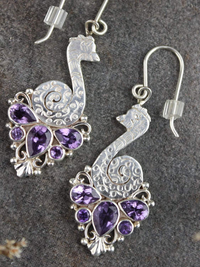 Earrings Dazzling Amethyst Peacock Earrings JE516