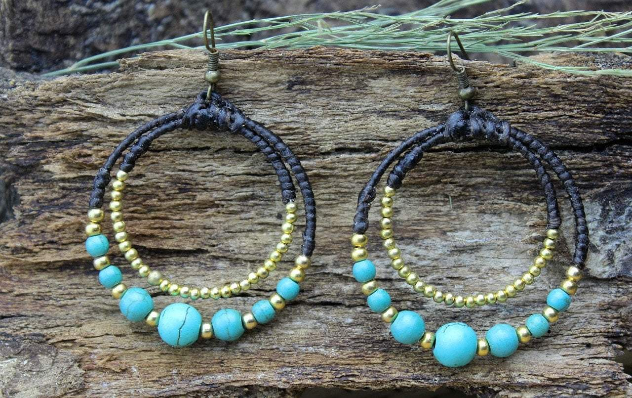 Earrings Default Brass and Turquoise Hoop Earrings je411