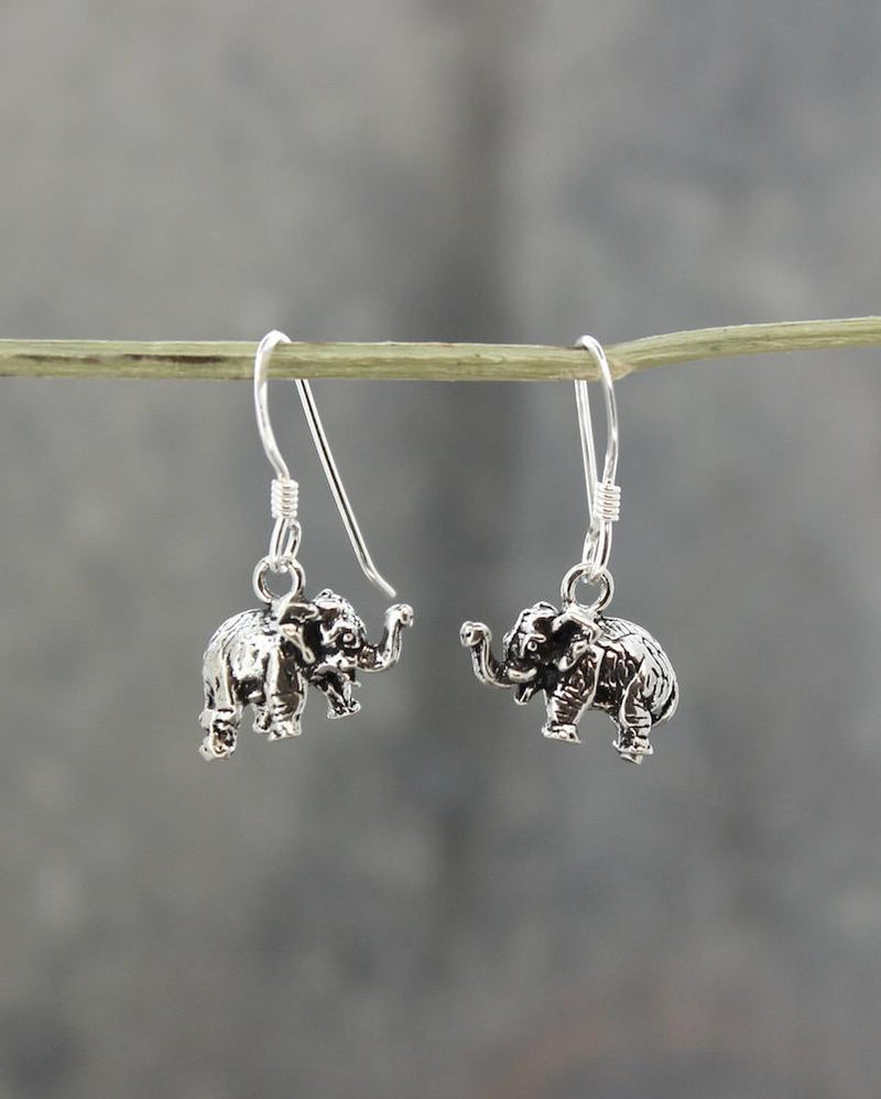Earrings Default Carved Silver Elephant Earrings je245