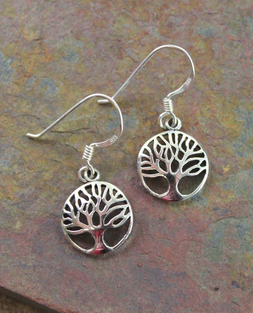 Earrings Default Elegant Sterling Silver Tree of Life Earrings je115