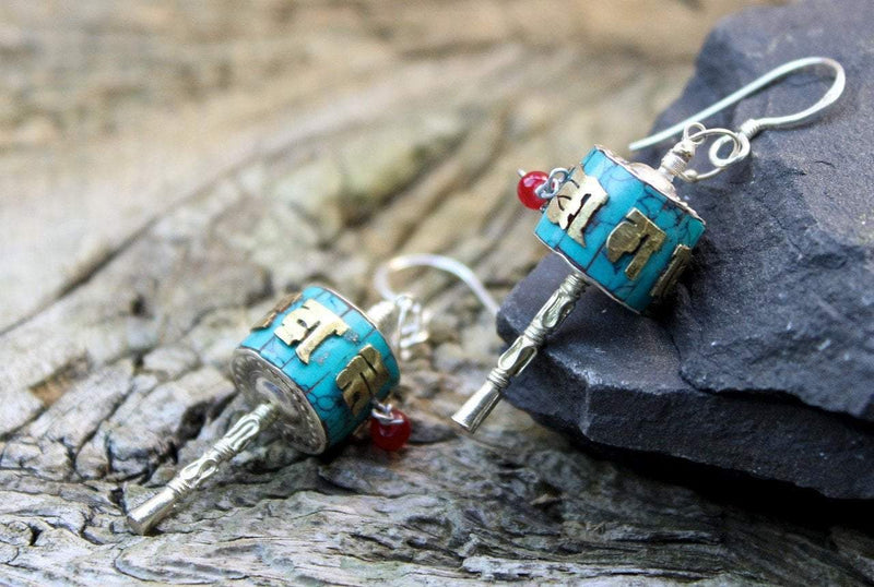 Earrings Default Handmade Prayer Wheel Earrings je317